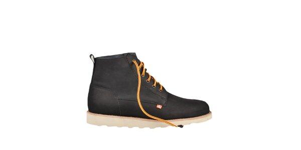 Kožené čierne topánky s farebnými šnúrkami Bustagrip