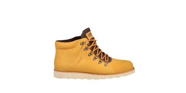 Kožené žlté topánky s hnedými prvkami Bustagrip
