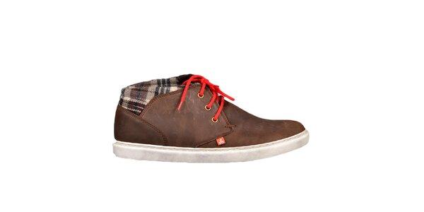 Hnedé topánky s červenými šnúrkami Bustagrip