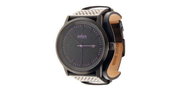Čierne ocelové hodinky Axcent s čiernym koženým remienkom a fialovými prvkami