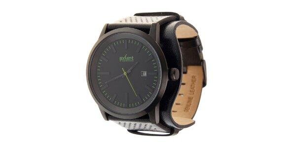 Čierne ocelové hodinky Axcent s čiernym koženým remienkom a zelenými prvkami