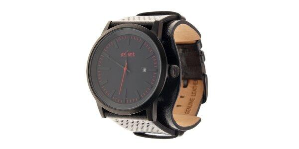 Čierne ocelové hodinky Axcent s čiernym koženým remienkom a červenými prvkami