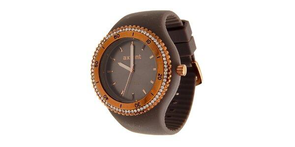 Dámske zlaté ocelové hodinky Axcent s tmavo hnedým pryžovým remienkom