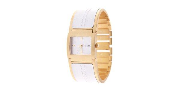 Dámske zlaté hodinky Axcent s bielym kombinovaným remienkom