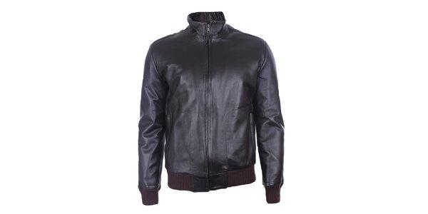 Pánska čierna kožená bunda Pietro Filipi