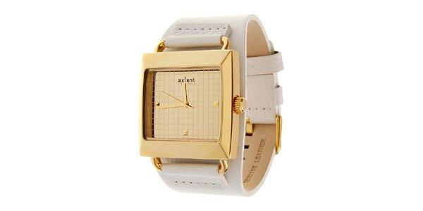Zlaté hodinky Axcent s bielym koženým remienkom