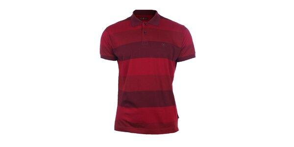 Pánske červené polo tričko s pruhmi Pietro Filipi