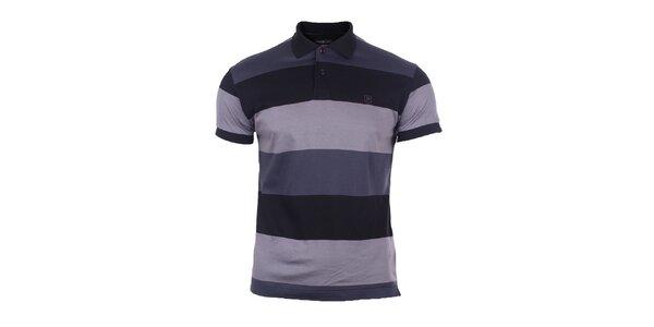 Pánske šedo-modré polo tričko s pruhmi Pietro Filipi