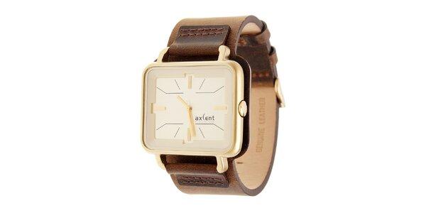 Zlaté hodinky Axcent s hnedým koženým remienkom