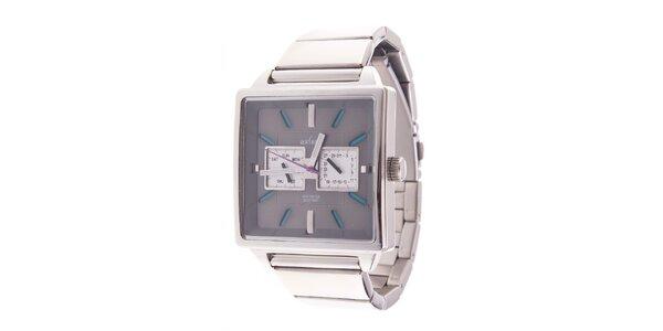 Hranaté analogové hodinky Axcent s modrými detailami
