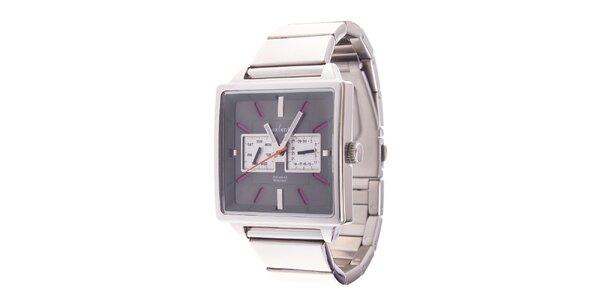 Hranaté analogové hodinky Axcent s ružovými detailami