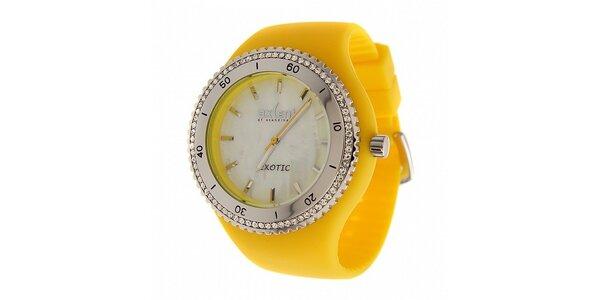 Dámske žlté náramkové hodinky Axcent s pryžovým remienkom a kamienkami