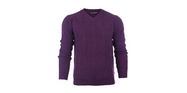 Pánsky fialový sveter s lakťovými nášivkami Pietro Filipi