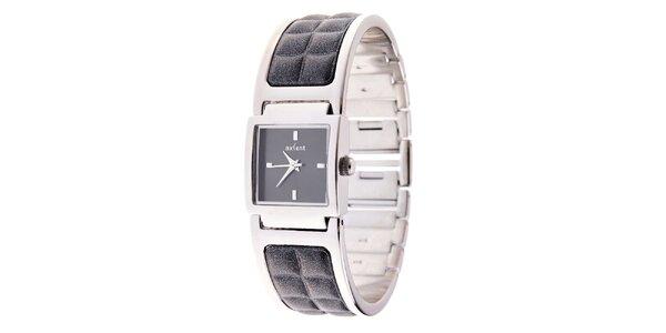 Dámske strieborné náramkové hodinky Axcent s kombinovaným remienkom