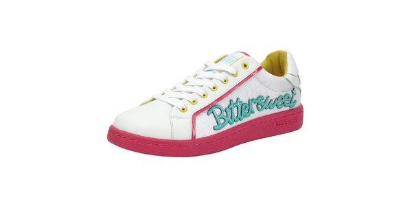 Biele tenisky s ružovou podrážkou Bitter Sweet
