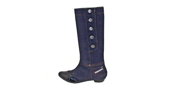 Dámske tmavo modré džínsové čižmy Bitter Sweet