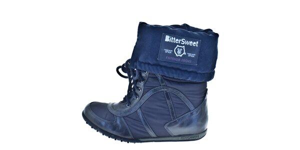 Dámske modré vyhrňovacie zimné topánky Bitter Sweet