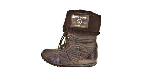 Dámske hnedé vyhrňovacie zimné topánky Bitter Sweet