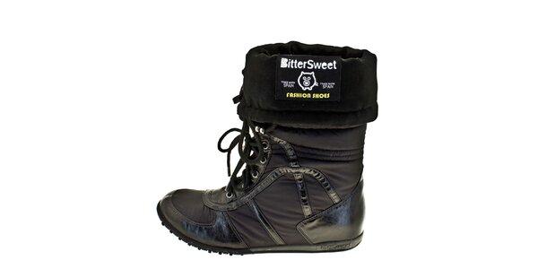 Dámske čierne vyhrňovacie zimné topánky Bitter Sweet