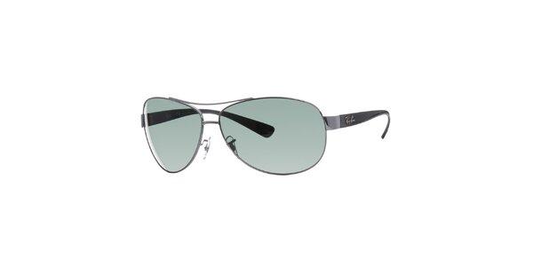 Ocelovo šedé slnečné okuliare Ray-Ban so zelenými sklami