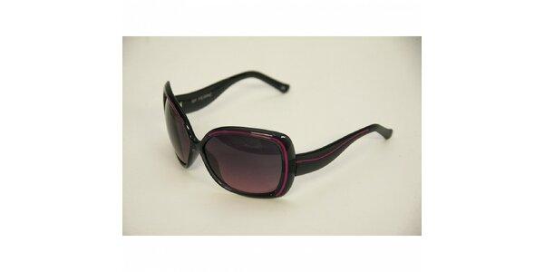 Dámske čierne slnečné okuliare Gianfranco Ferré s ružovými detailami