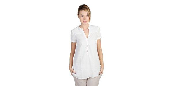 Dámska biela košeľa s potlačou na chrbte Bonavita