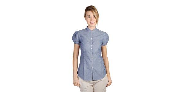 Dámska modrá košeľa s krátkym rukávom Bonavita