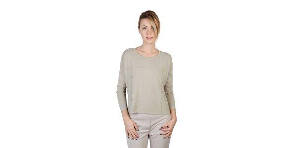 Dámske béžové tričko s dlhým rukávom Bonavita