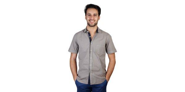Pánska šedá košeľa s kontrastnou légou Bonavita