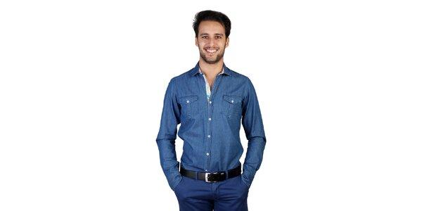 Pánska džínsová košeľa s dlhými rukávmi Bonavita