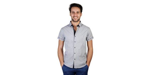 Pánska šedá košeľa s kockovanými detailmi Bonavita