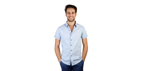 Pánska svetlo modrá košeľa s kockovanými detailmi Bonavita