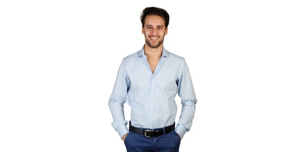 Pánska svetlo modrá košeľa s dlhými rukávmi Bonavita