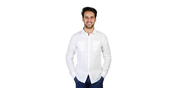 Pánska biela ľanová košeľa s vreckami Bonavita