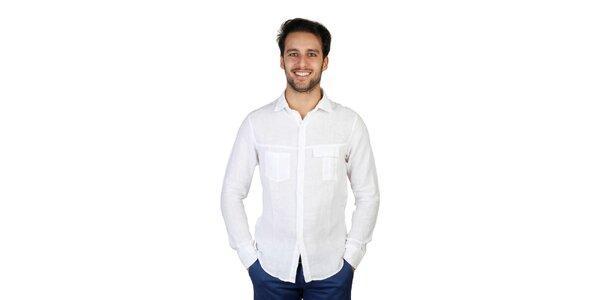 Pánska biela ľanová košeľa s dlhými rukávmi Bonavita