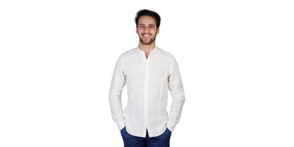 Pánska krémová ľanová košeľa Bonavita