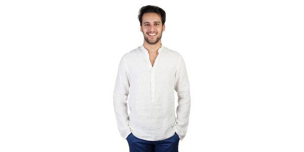 Pánska biela polozapínacia ľanová košeľa Bonavita