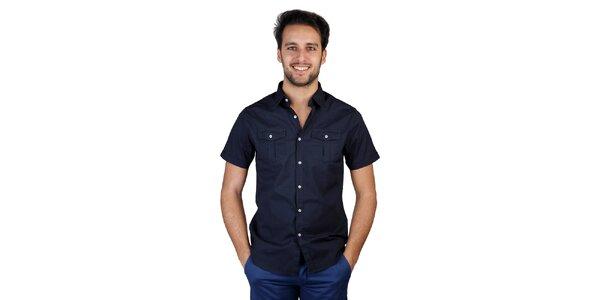 Pánska tmavo modrá košeľa s krátkym rukávom Bonavita