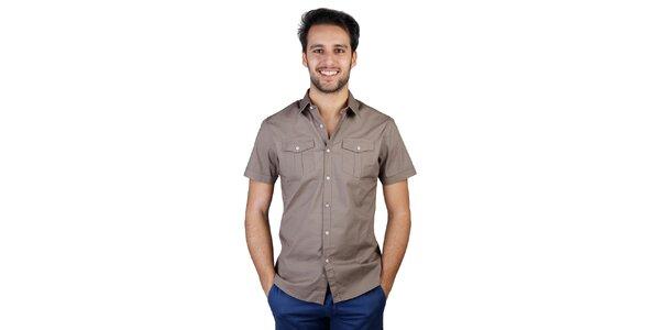 Pánska hnedá košeľa s krátkym rukávom Bonavita