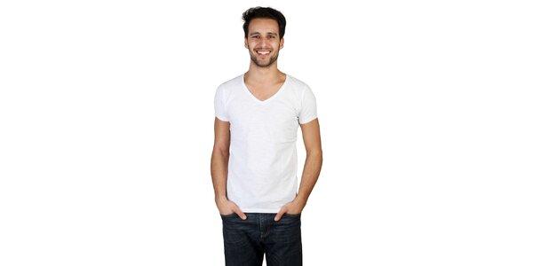Pánske biele tričko s véčkovým výstrihom Bonavita