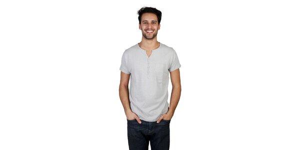 Pánske šedé tričko s gombíkmi Bonavita