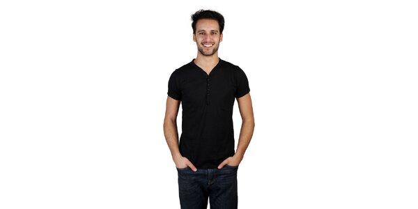 Pánske čierne tričko s gombíkmi Bonavita