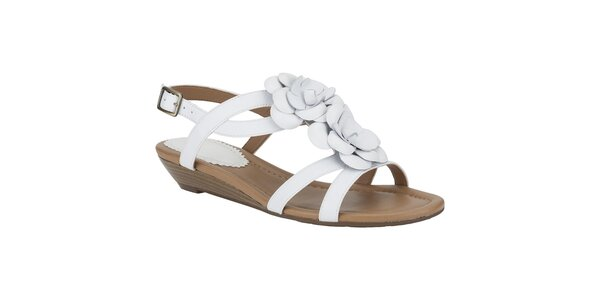 Dámske biele sandálky s kvetinou Clarks