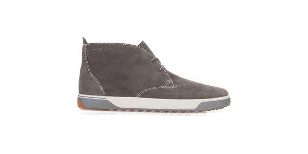 Pánske tmavo hnedé semišové šnurovacie topánky Clarks