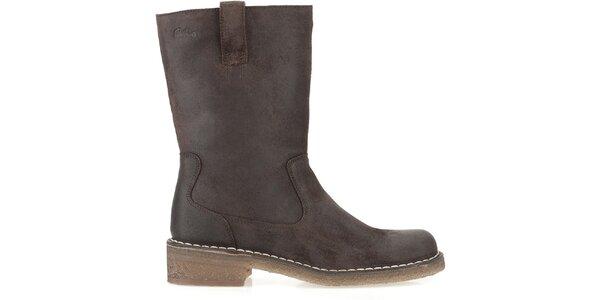 Dámske hnedé kožené topánky Clarks