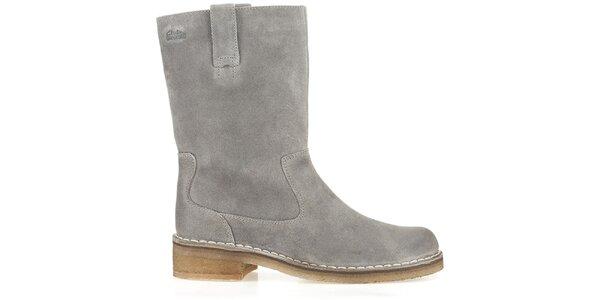 Dámske šedé kožené topánky Clarks