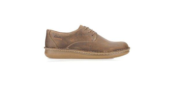 Pánske hnedé šnurovacie topánky Clarks