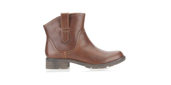 Dámske hnedé kovbojské topánky Clarks