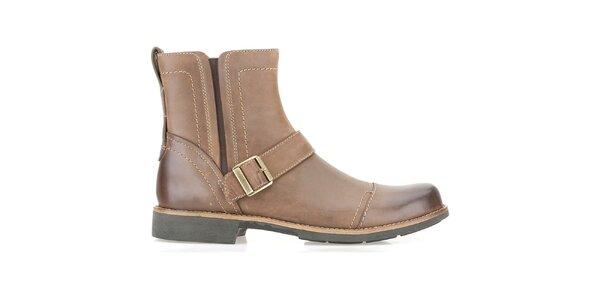 Pánske svetlo hnedé členkové topánky s prackou Clarks
