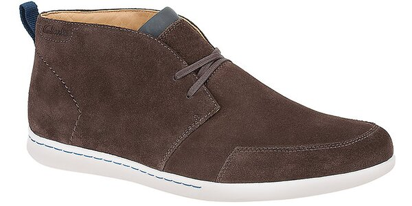 Pánske tmavo hnedé semišové členkové topánky Clarks